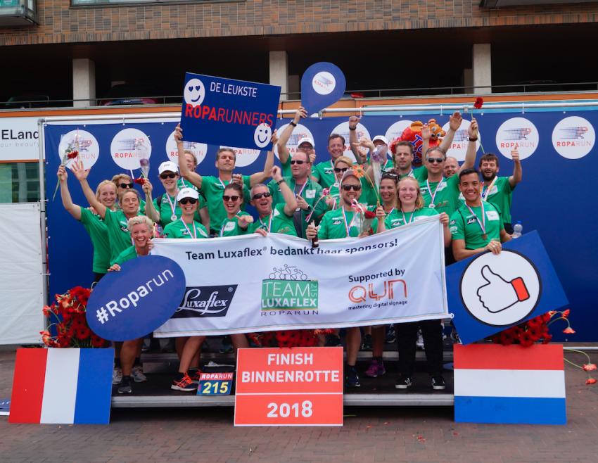 Luxaflex Nederland haalt 31.000 euro op voor goede doel tijdens Roparun 2018
